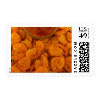 Steamed Shrimp and Cocktail Sauce Postage Stamp
