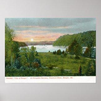 Steamer, Bangor Maine 1908 Vintage print
