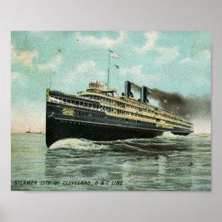 Steamer City of Cleveland 1909 Vintage Poster