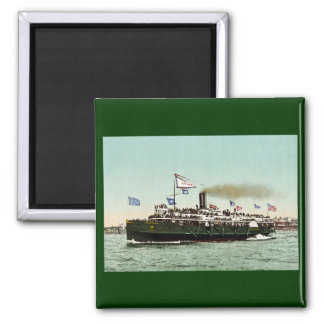 """Steamer """"City of Erie"""" 1900 2 Inch Square Magnet"""