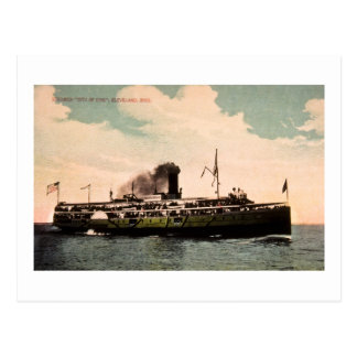 """Steamer """"City of Erie"""" at Cleveland, Ohio Postcard"""