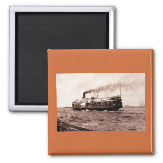 "Steamer ""City of Erie"" Cleveland and Buffalo Line 2 Inch Square Magnet"