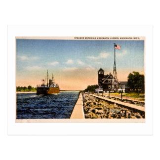 Steamer Entering Muskegon Harbor, Muskegon, Mich Post Cards
