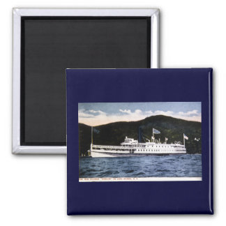"""Steamer """"Horicon"""" on Lake George, New York 2 Inch Square Magnet"""