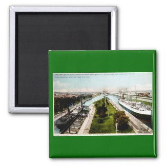 Steamer in the Locks, Sault Ste.Marie, Michigan 2 Inch Square Magnet