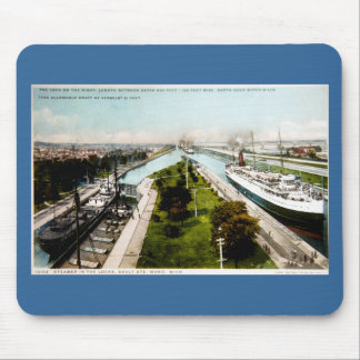 Steamer in the Locks, Sault Ste.Marie, Michigan Mouse Pad