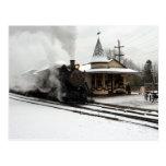 Steamer in Winter Snow Postcard