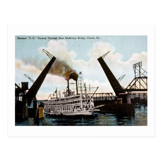 Steamer J.S., Peoria, Illinois Postcard