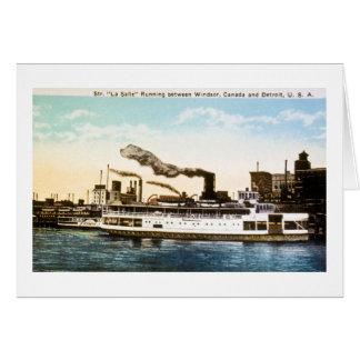 Steamer La Salle, Detroit River Card