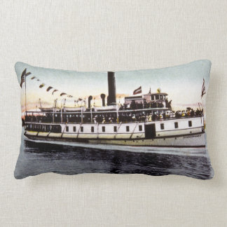 Steamer Machigonne aorpswell Steamboat Company Throw Pillow