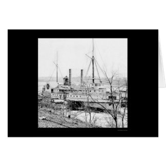 Steamer New York at Aiken's Landing 1865 Greeting Card