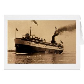 Steamer Ocotorara on St. Clair River - Louis Pesha Card