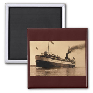 Steamer Ocotorara on St. Clair River - Louis Pesha 2 Inch Square Magnet