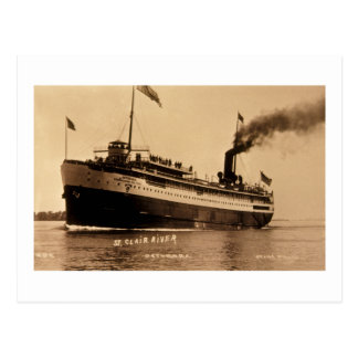 Steamer Ocotorara on St. Clair River - Louis Pesha Postcard