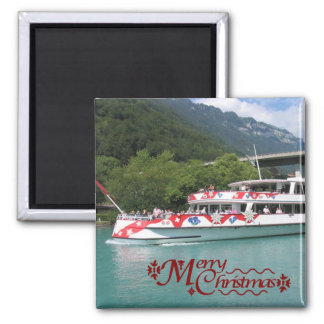 Steamer on the Brienzersee 2 Inch Square Magnet