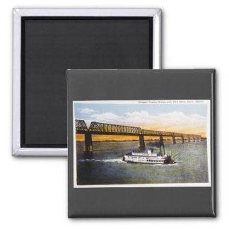 Steamer Passing Bridge, Ohio River, Cairo,Illinois 2 Inch Square Magnet