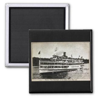 Steamer Peter Stuyvesant - Vintage Postcard 2 Inch Square Magnet