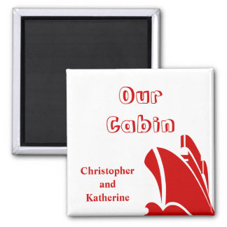 Steamer Red on White Stateroom Door Marker 2 Inch Square Magnet