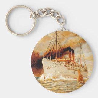 Steamer Ship Basic Round Button Keychain
