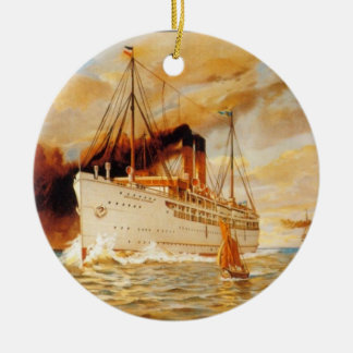 Steamer Ship Double-Sided Ceramic Round Christmas Ornament