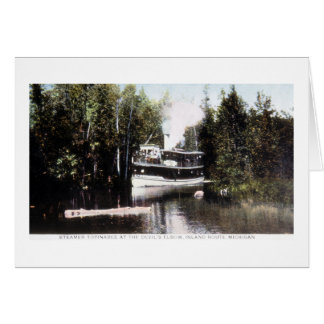 Steamer Topinabee at Devil's Elbow, Michigan Greeting Cards