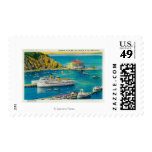 Steamers Catalina and Avalon at Pier, and Casino Postage Stamps