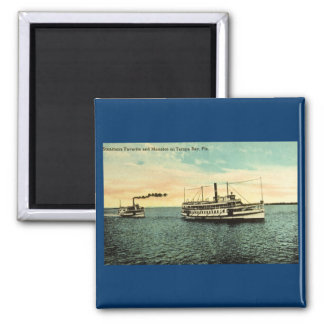 Steamers Favorite and Manatee, Tamba Bay, FLA 2 Inch Square Magnet