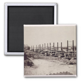 Steamers on the Mississippi (b/w photo) 2 Inch Square Magnet