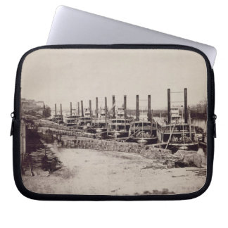 Steamers on the Mississippi (b/w photo) Laptop Sleeve