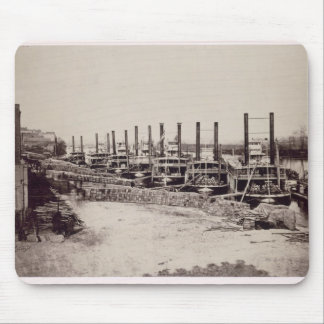 Steamers on the Mississippi (b/w photo) Mouse Pad