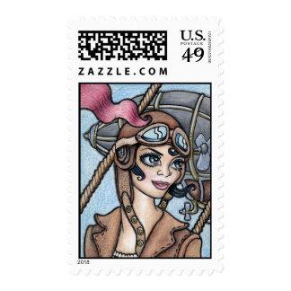 Steamface #12 Steampunk Airship Pilot Stamp