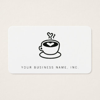 Steaming Coffee Cup with Heart Design (worn style) Business Card