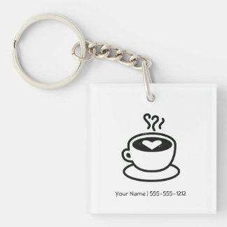 Steaming Coffee Cup with Heart Design (worn style) Single-Sided Square Acrylic Keychain