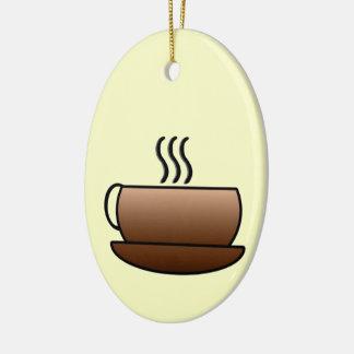 Steaming Coffee Mug Ceramic Ornament