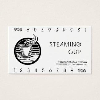 Steaming Cup in Hand Logo Punch Card