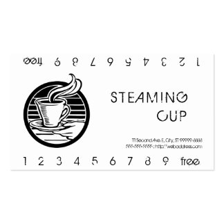 Steaming Cup in Hand Logo Punch Card Business Card