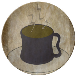 Steaming Cup of Coffee Plate