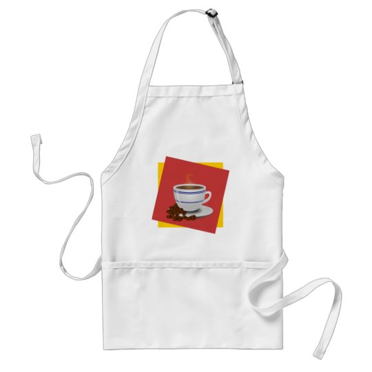 Steaming Cup Of Coffee With Coffee Beans Adult Apron