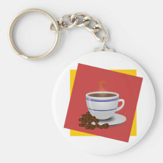 Steaming Cup Of Coffee With Coffee Beans Keychain