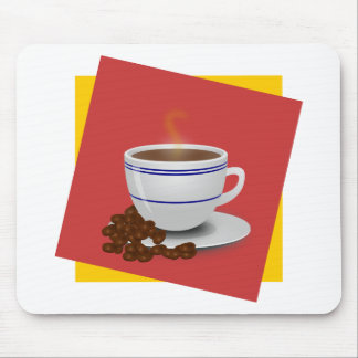Steaming Cup Of Coffee With Coffee Beans Mouse Pad