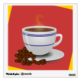 Steaming Cup Of Coffee With Coffee Beans Wall Decal