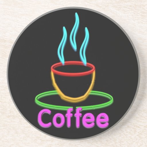 Steaming Cup of Neon Coffe Beverage Coaster