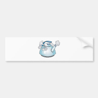 steaming tea pot kettle bumper sticker