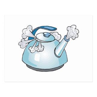 steaming tea pot kettle postcard