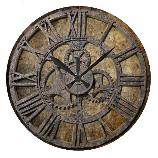 Steampunk 1 Round Wall Clock Zazzle