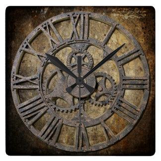 Steampunk 1 square square wall clock