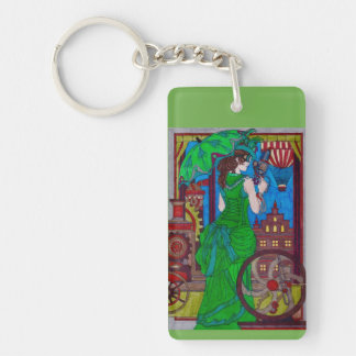 Steampunk 6 Keychain - Bright Green Dress
