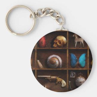 Steampunk - A box of curiosities Basic Round Button Keychain