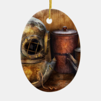 Steampunk - A collection from my Journeys Double-Sided Oval Ceramic Christmas Ornament