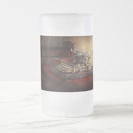 Steampunk - A crusty old typewriter Frosted Glass Beer Mug